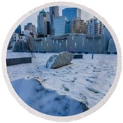 Rare Winter Scenery Around Charlotte North Carolina Round Beach Towel