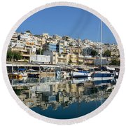 Reflections In Mikrolimano Port Round Beach Towel