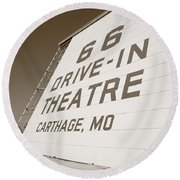 Route 66 Drive-in Theatre Round Beach Towel by Frank Romeo