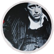 Scarface Round Beach Towel by Luis Ludzska
