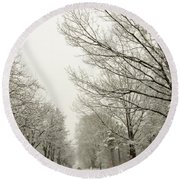 Snow Covered Road And Trees After Winter Storm Round Beach Towel
