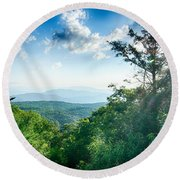 Sunrise Over Blue Ridge Mountains Scenic Overlook  Round Beach Towel