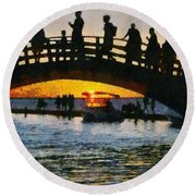 Sunset In Lefkada Town Round Beach Towel