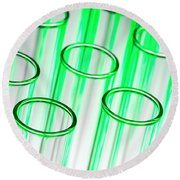 Test Tubes In Science Research Lab Round Beach Towel