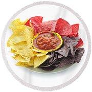 Tortilla Chips And Salsa Round Beach Towel