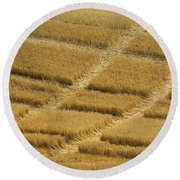 Tracks In Field Round Beach Towel