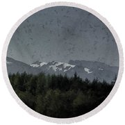 Treeline With Ice Capped Mountains In The Scottish Highlands Round Beach Towel