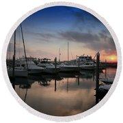 Yachts At Sunset Round Beach Towel