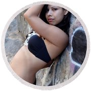 Young Hispanic Woman Round Beach Towel