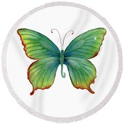 74 Green Flame Tip Butterfly Round Beach Towel by Amy Kirkpatrick