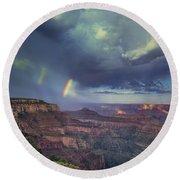 749220049 Double Rainbow Cape Royal North Rim Grand Canyon National Park Round Beach Towel