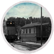 760 Train Engine Passing The Station Sc Textured Round Beach Towel