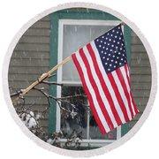 #762 D68 American Flag Winter Round Beach Towel