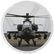 Ah-64 Apache Helicopter On The Runway Round Beach Towel