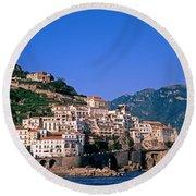 Amalfi Town In Italy Round Beach Towel by George Atsametakis