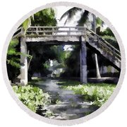 An Old Stone Bridge Over A Canal Round Beach Towel