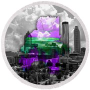 Atlanta Map And Skyline Watercolor Round Beach Towel