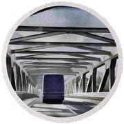 Blue Citylink Bus On A Metal Bridge In Scotland Round Beach Towel