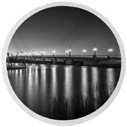 Bridge Of Lions St Augustine Florida Painted Bw Round Beach Towel