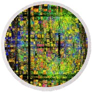 Colorful Psychedelic Abstract Fractal Art Round Beach Towel