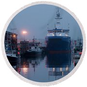 Early Morning In Portland, Maine Round Beach Towel