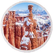 Eroded Rocks In A Canyon, Bryce Canyon Round Beach Towel