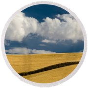 Farm Field Round Beach Towel