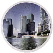 Financial District Of Singapore And View Of The Water In Singapore Round Beach Towel