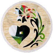 Heart And Flowers Round Beach Towel