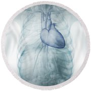 Heart Within The Chest Round Beach Towel