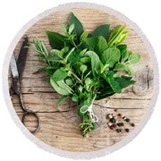 Kitchen Herbs Round Beach Towel