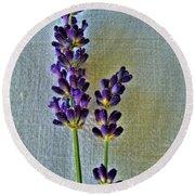 Lavender On Linen Round Beach Towel