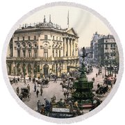 London Piccadilly Circus Round Beach Towel