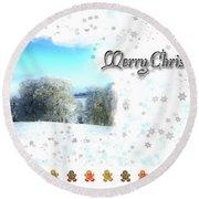 Christmas Card 24 Round Beach Towel