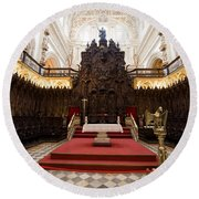 Mezquita Cathedral Interior In Cordoba Round Beach Towel