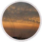 Nebraska Mammatus Sunset Round Beach Towel