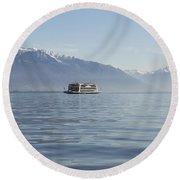 Passenger Ship On An Alpine Lake Round Beach Towel