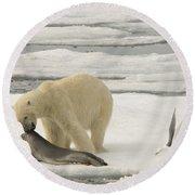 Polar Bear With Fresh Kill Round Beach Towel