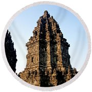 Prambanan Temple In Indonesia Round Beach Towel