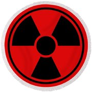 Radiation Warning Sign Round Beach Towel