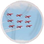 Red Arrows Round Beach Towel