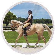 Rocking Horse Stables Round Beach Towel