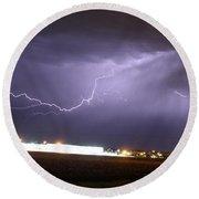 Round 2 More Late Night Servere Nebraska Storms Round Beach Towel