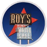 Route 66 - Roy's Of Amboy California Round Beach Towel