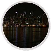 San Diego Skyline Night Round Beach Towel