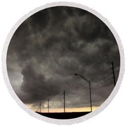 Severe Warned Nebraska Storm Cells Round Beach Towel