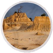 Sunset In An Ancient Land Round Beach Towel