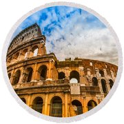 The Majestic Coliseum - Rome Round Beach Towel