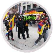 Tibetan Protest March Round Beach Towel
