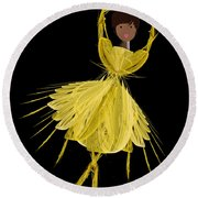 8 Yellow Ballerina Round Beach Towel